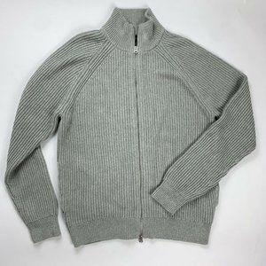 J. Crew Cotton Zip Front Turtleneck Sweater Gray L